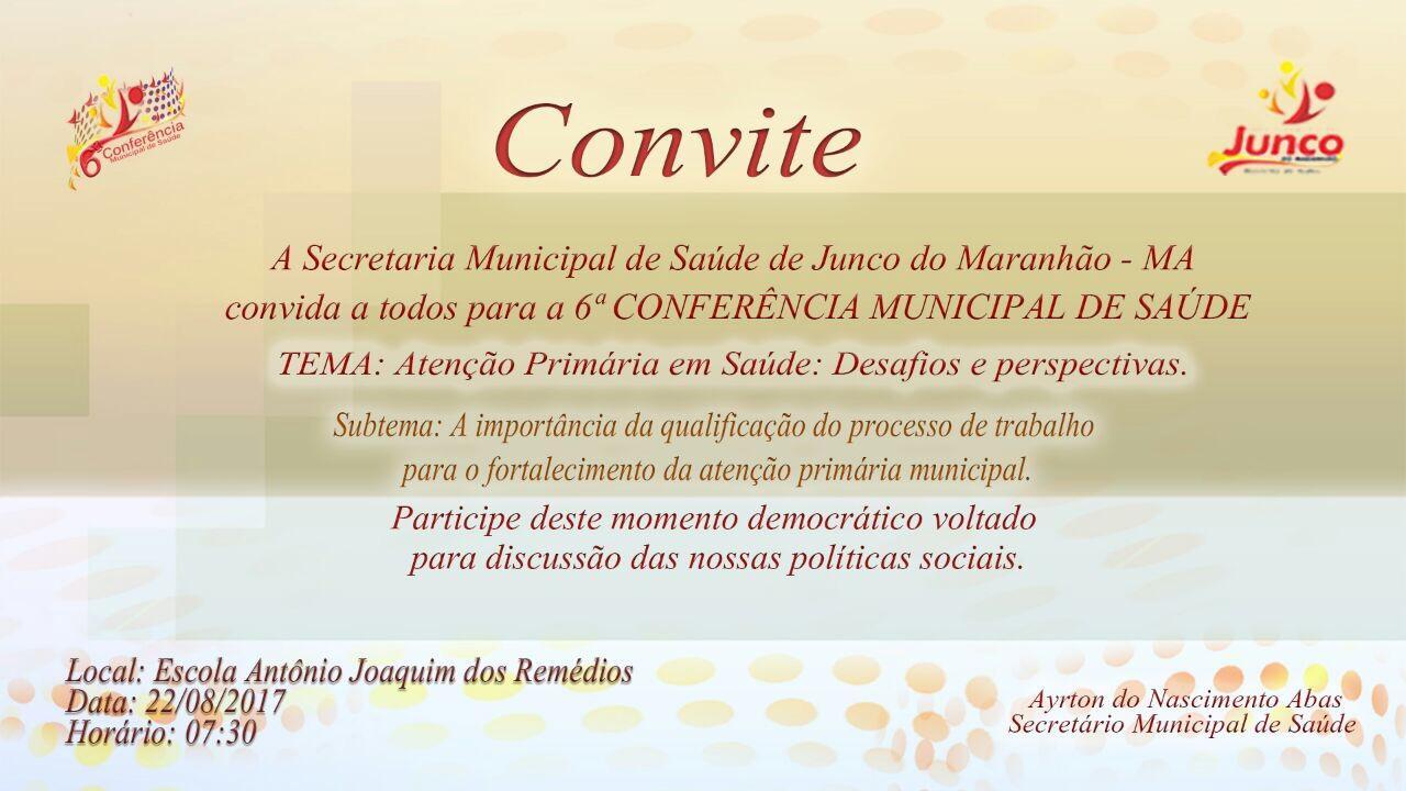 6ª Conferência Municipal de Saúde  acontecerá no próximo dia 22